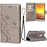 Teebo Hülle für Motorola Moto E5 Plus Schutzhülle aus PU Leder Handyhülle mit geprägtem Schmetterling-Muster Kartenfach und Magnetverschluss grau
