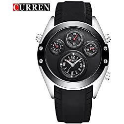 CURREN Men's Quartz Casual Black Leather Strap Waterproof Wrist Watch 8141G