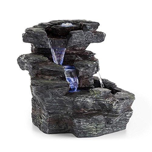 Blumfeldt rochester falls • fontana • fontana da giardino • ipx8 • 6 w • poliresina resistente al gelo • 3 led • effetto pietra • incl. copertura • 64 x 43 x 37 cm • grigio