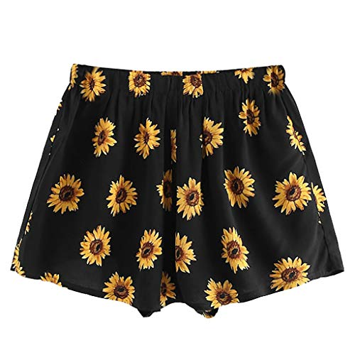 WOZOW Shorts Kurze Hose Damen Casual Boho Blumenmuster Floral Print Bedrucktes Druck Sunflowers Flowers Loose Pyjama Trousers High Waist A Line Mini Freizeithose Stoffhose Gift (S,Schwarz) Tweed Cropped Pants
