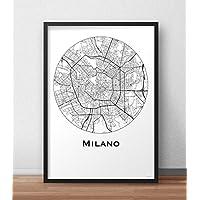 Poster Milano Italia Minimalista Mappa (A4, A3, A2) - Mappa della città, manifesto di Milano, stampa d'arte