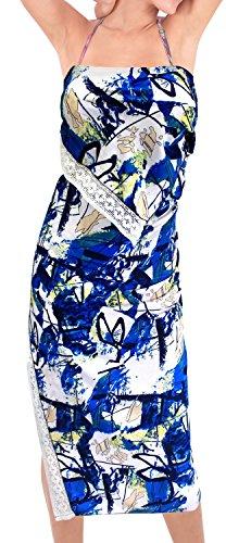 delle donne costume da bagno Abito a portafoglio costumi da bagno sarong coprire fino beachwear signore vestito di pannello esterno da bagno Blu