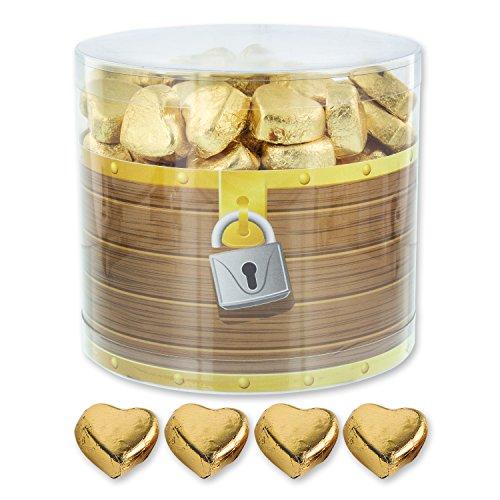 1 Box gefüllt mit 150 Schokolade Herzen, gold | Schatztruhe