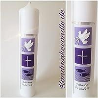 Taufkerze für Mädchen - in lila,