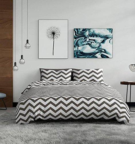 NIGHTLIFE Pierre Cardin - Bettwäsche/Bettbezüge Chevron Weiß - Grau - 135x200 - Mit 1 Kissenbezug - Baby-bettwäsche-sets Chevron