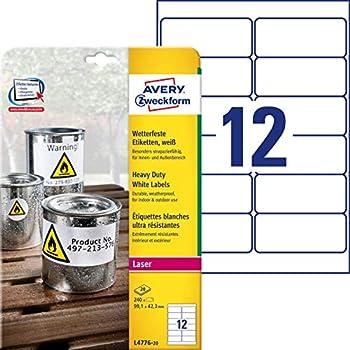 Folienetiketten A4 Bogen 35 x 6 mm selbstklebend Polyester gelb 235 Stk.