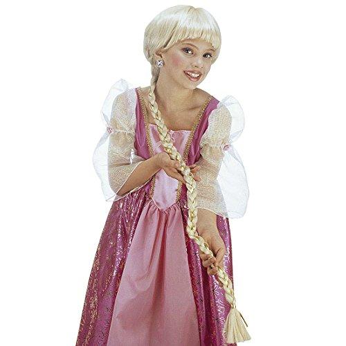 NET TOYS Costume di carnevale, motivo: Raperonzolo, con parrucca lunga bionda, per bambine