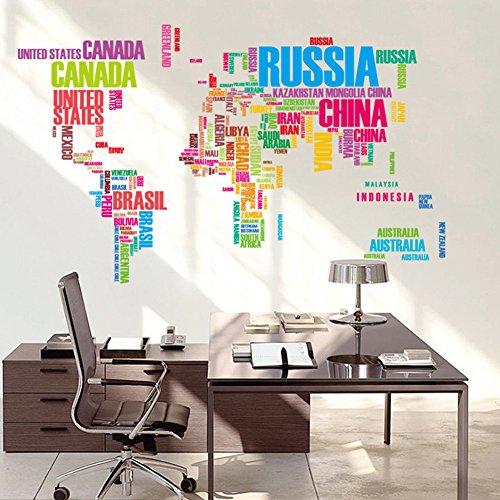 Zantec Englische Wörter Weltkarte Klassenzimmer Hauptwand entfernbarer Aufkleber PVC Kunst Abziehbild Dekor Plakat (Weltkarte In Worten)