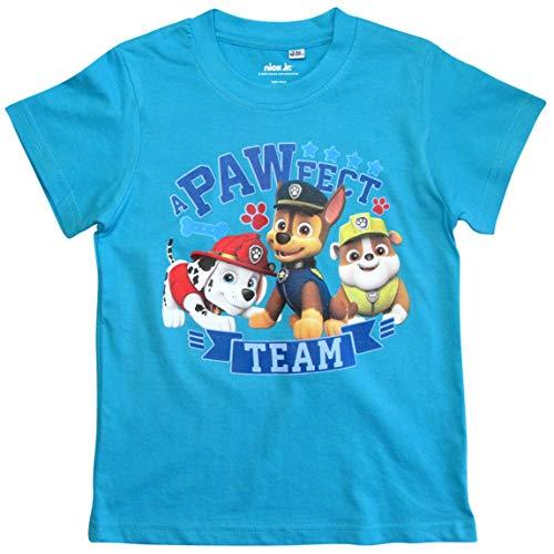 Paw Patrol - Helfer auf Vier Pfoten T-Shirt Jungen Kurz (Hellblau, 104-110)