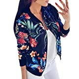 VJGOAL Damen Jacke, Damen Mode Blumendruck Langarmshirts Casual Reißverschluss Winter Herbstlichen Baseball Outwear Lose Tops (Blau, 36)