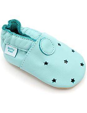 Dotty Fish Leder Babyschuhe - Baby Jungen und Mädchen - Minze Grüne Sterne - 6-12 Monate - Gr. 19