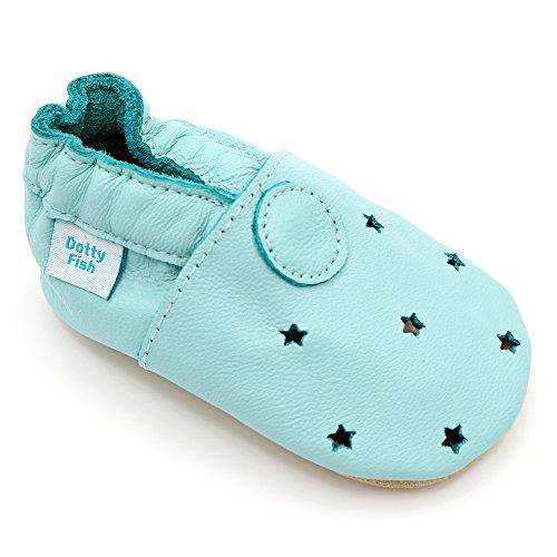 Dotty Fish Leder Babyschuhe - Baby Jungen und Mädchen - Minze Grüne Sterne - 2-3 Jahre - Gr. 25