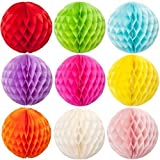 """SUNBEAUTY 3""""(8cm) Pack of 20 Small Decorative Tissue Paper Honeycomb Balls Assorted Colors"""