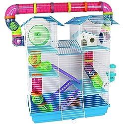 pour Animal Domestique Ting Jasmin Cage à Hamster Grande Course à Pied avec Tubes Gerbille syrienne Hamsters Nains Souris