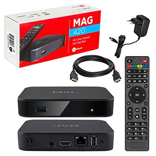 MAG 420 Infomir & HB-DIGITAL 4K IPTV Set Top Box Multimédia Lecteur Internet TV IP # 4K UHD 60FPS 2160p@60 FPS HDMI 2.0# HEVC H.256# Arm Cortex-A53 + câble HDMI