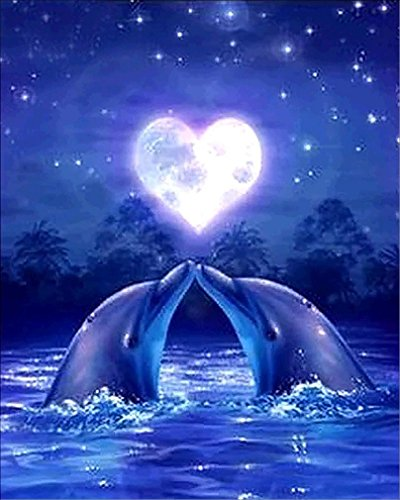 Price comparison product image KEATTL 5D DIY Diamond Painting,  Pictures Of Crystals Embroidery Kits Arts,  Crafts & Sewing Cross Stitch Romantic Dolphin