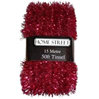 Extra Long Tinsel 15 metre, 50 foot,Very Long Christmas Tinsel by Homestreet® in a choice of Red, Silver or Gold Xmas Decoration (RED)