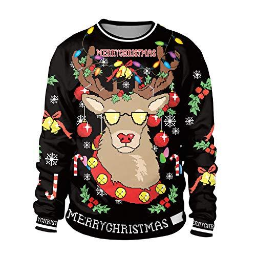 ZYX Unsiex Hässliche Weihnachts-Pullover Sweatshirts Fliegen Rentier 3D Druck Neuheit Xmas Elf Lange Ärmel Tshirt Hip Hop Paar S-XL Schwarz,M