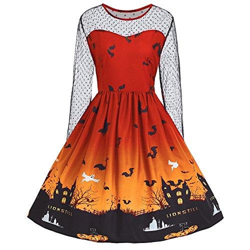 Tutus Halloween Plus Size (ZAFUL Damen Plus Size Halloween Lace Vintage Retro Cocktail Abschlussball Kleider 50er 60er Rockabilly Dress(ORANGE)