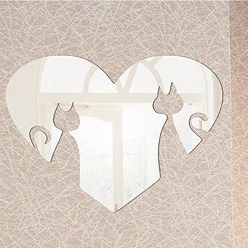 Walplus espejo y diseño de gatos en forma de corazón, plateado