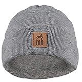 Klassische Strickmütze Beanie Mütze Unisex & One Size Feinstrick mit Leder-Patch Wintermütze Warm, weich und pflegeleicht