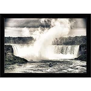AZ Niagara Falls, Ontario, Canada Canvas Painting Black Wood Frame 22.9 x 16inch