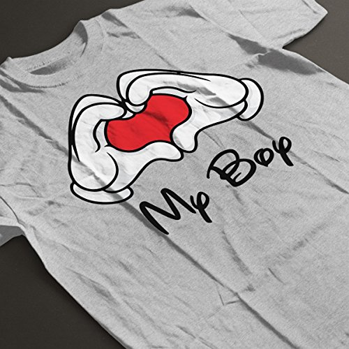 Mickey Mouse Hands Love My Boy Men's T-Shirt Heather Grey