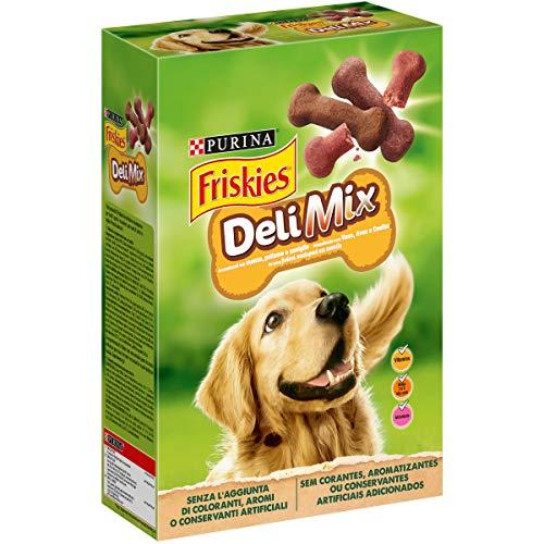 Friskies DeliMix - Galletas crujientes para Perros, con 3variedades, Carne de Res, Pollo y Caza, 500g- Paquete de 6Unidades