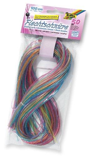folia 732050 - Flechtschüre, mit Glitter, 50 Stück sortiert in 10 verschiedenen Farben - ideal zum Flechten von Armbändern, Schlüsselanhängern, usw.