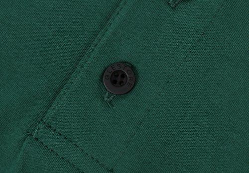 Glestore Mens Short Sleeve Polo Shirts Contrast Collar Polo Shirt Golf Tennis Shirt Giraffe (L, Green)