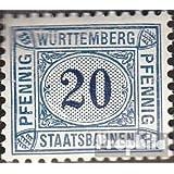 Württemberg 20 pfennig con marca de agua Cruces y Anillos 1906 Staatsbahnen (sellos para los coleccionistas)