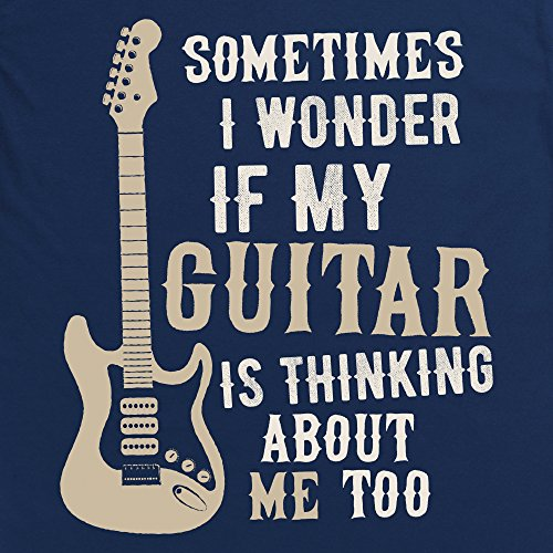 I Wonder If My Guitar Langarmshirt, Herren Dunkelblau