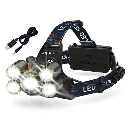 Kopflampe LED Stirnlampe, Wiederaufladbar 8000LM Wasserdicht, Fokus Verstellbar, 5 Helligkeits-Modi, Flexibel Kopfband, 500m Reichweite, Superhelle LED Stirnlampe für Mountain Biking, Fischerei, Wanderungen