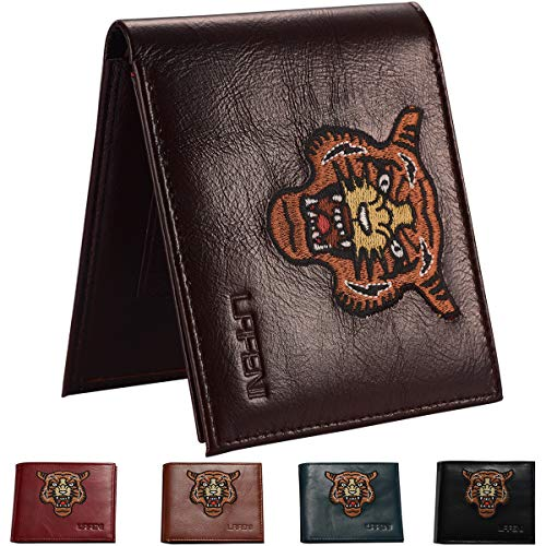 a9e5d069f5cf LAFENI Bifold Wallet,Mens Genuine Leather RFID Blocking Wallet with ID  Window(Coffee)
