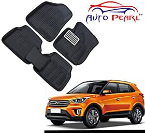 Auto Pearl 3D Car Foot Mat for Hyundai Creta (Set of 3, Black)