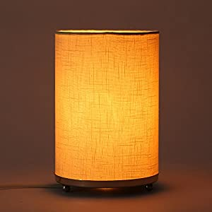 Craftter Handloom Textured Off White Fabric Round Small Table Lamp Bedside Table Light Night Lamp