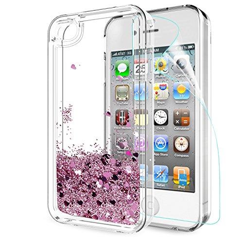 Leyi custodia iphone 4/4s glitter cover con hd pellicola,brillantini trasparente silicone gel liquido sabbie mobili bumper tpu case per iphone 4/4s telefonino donna zx rose gold