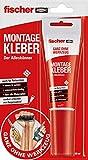 fischer MONTAGE KLEBER 80 ml - Der Alleskönner für Hochleistungs-Verklebungen, funktioniert mit fast allen Materialien, weiß - 1 Stück - Art.-Nr. 545864