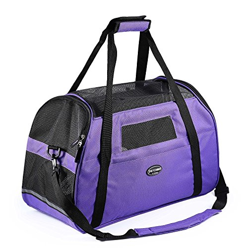 "Cat Dog Carrier Airline Approved Pet Travel Soft Sided Tote Shoulder Bags with Breathable Mesh Mats (S 16""L×8""W×11.5""H, Purple)"