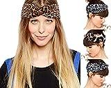 Odosalii Damen Elastische Blume Gedruckt Stirnbänder Weich Retro Turban Verknotet Haarband Kopfbedeckung für Alltag Yoga Sport (A_Leopard Stirnbänder_F)