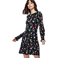 534190ec0f5 Red Herring Womens Black Floral Print Long Sleeve Mini Length Skater Dress