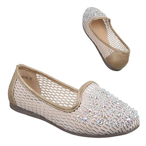 Damen Schuhe, 1295-BL, HALBSCHUHE SLIPPER BALLERINAS Beige