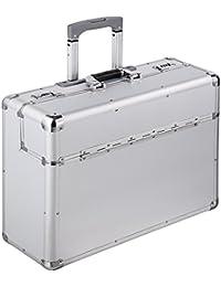 TecTake XL Pilotenkoffer 55x49x22cm Handgepäck Businesskoffer Aktenkoffer Koffer Trolley silber mit Rollen