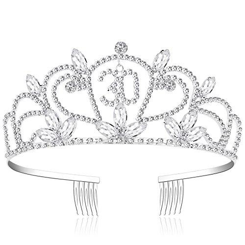burtstag Tiara Birthday Crown Prinzessin Kronen Geburtstag Haar-Zusätze Silber Diamante Glücklicher 16/21/30/40 Geburtstag (30 Jahre alt Silber) ()