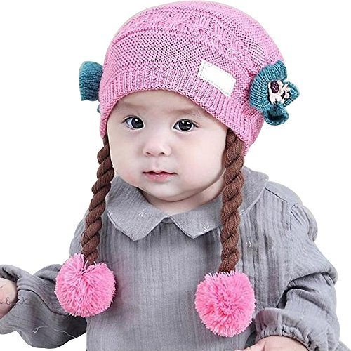 flyyfree weiblich Baby Perücke Hat 0–2Jahre Prinzessin Frühling Herbst Winter Baby Wolle Knited Mütze Schal (Baby Perücke)
