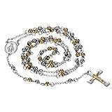 oidea Collar con Cruz Colgante de oro plata, cadena bola de acero inoxidable Jesús Cristo Crucifijo Rosario Cadena Colgante con 83cm Cadena para Hombre Mujer