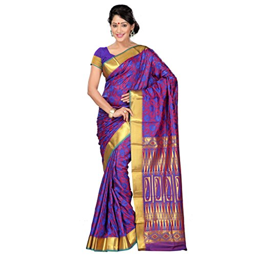 Varkala Silk Sarees Women's Art Silk Kanchipuram Saree With Blouse Piece(JP8109RBRD_Blue_Free Size)