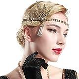 BABEYOND 1920s Flapper Headband Crystal Great Gatsby Headpiece 1920s Flapper Gatsby Accessories Leaves Simulated Tiara Headband with Pearl Tassel (Gold) Bild 2