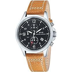 Avi-8 AV-4001-02 - Reloj cronógrafo de cuarzo para hombre con esfera negra y correa de cuero marrón