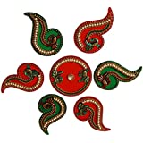 Anaya Industries Acrylic Beautiful Peacock Pearl And Kundan Work Rangoli (22 Cm X 22 Cm X 1 Cm, Red & Green)